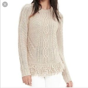 Banana Republic Fringe Hem Cab Cable Knit NWT